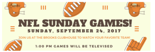 NFL SUNDAY GAMES AT THE BROOKS CLUBHOUSE